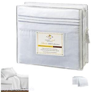 4-Pc-Premier-Bed-Sheet-Set-King-Size-White-1800-Series-Brushed-Microfiber-New