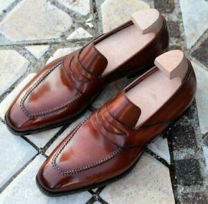 Mocassins-en-cuir-marron-veritable-faits-a-la-main-pour-hommes-Chaussures