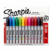 Sharpie Permanent Marker, Brush Tip, Assorted, Colorful Set Of 12 Markers