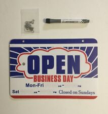 Dry Erase Open Closed Store Sign Will Return Clock Business Hours Marker Chain