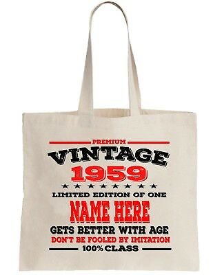 60th Party Cotton Tote Bag Birthday Presents Gifts Year 1959 Shopper Shopping