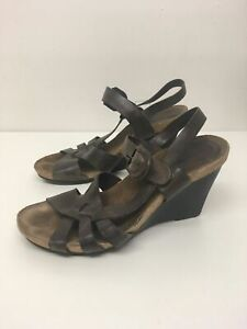 WOMENS-CLARKS-BROWN-LEATHER-STRAPPY-SANDALS-HIGH-WEDGE-HEEL-SHOES-SIZE-UK-5-EU38