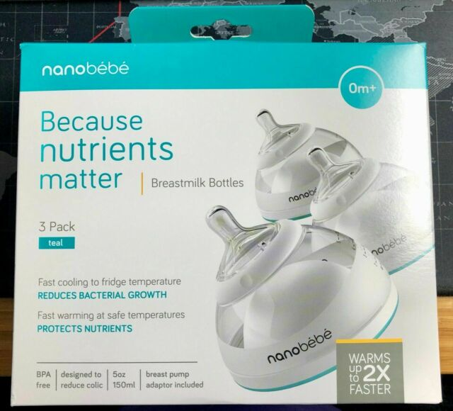 3 PACK NEW 0m+ Nanobebe Baby Breastmilk Bottles Teal 5 oz//150 ml Each