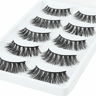 5 Pairs 100% Mink Natural Thick Eyelashes Pro Makeup False Eye Lashes Extension