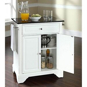 Details About Lafayette Solid Black Granite Top Portable Kitchen Island In White Finish