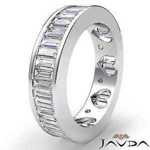 Baguette Channel Set Diamond Womens Eternity Wedding Band Platinum ...