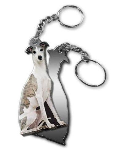 MIRRORED ACRYLIC GREYHOUND KEYCHAIN DOG KEYRING KEY CHAIN CHAINS Made in USA