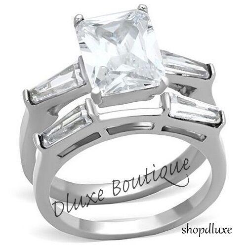 Superbe émeraude Cut AAA CZ acier inoxydable Wedding Engagement Ring Set SZ 5-10