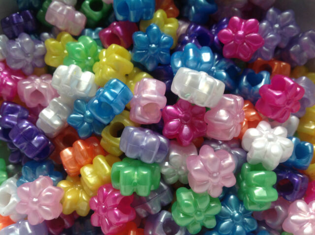 Flower Pony Beads 13mm - Ideal For Dummy Clips - Choose Your Finish
