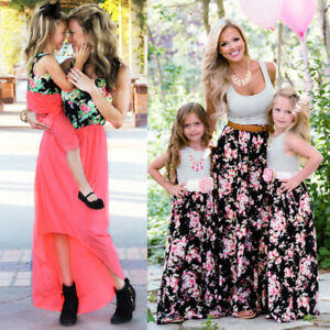 Mother-Daughter-Matching-Long-Boho-Maxi-Dress-For-Women-Kid-Girls-Beach-Holiday