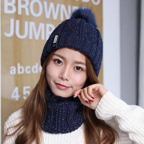 Damen Wintermütze Strickmütze Warme Beanie Winter Mütze und Schal mit Fleecefutt