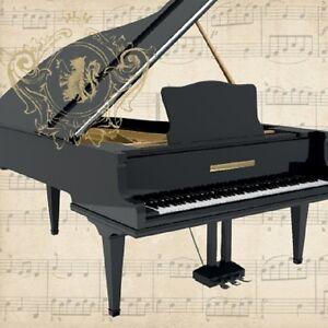4 Vintage Paper Napkins for Decoupage Lunch h Craft Music Black Piano U//11 ART