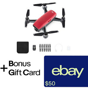 DJI Spark Lava Red Quadcopter Drone + $50 eBay Gift...