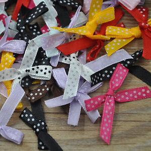 60pcs-Mini-Dots-Satin-Ribbon-Flowers-Bows-Gift-Craft-Wedding-Decoration-E242