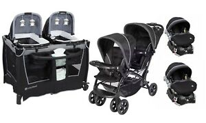 Baby Trend Double Stroller With 2 Car Seat Twin Playard