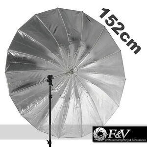 F-amp-V-60-Studio-Lighting-Black-Silver-Umbrella-152cm-with-11mm-Shaft-Mega-Brolly