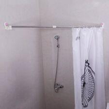 Extendable Shower Curtain Rod Suction Cup Rail Bathroom Towels Storage Rack