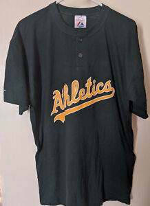 Majestic MLB Oakland Athletics Two Button Mens Jersey T-Shirt