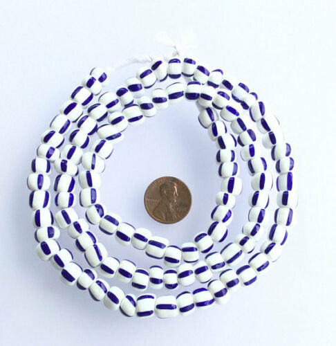 Vintage dark blue and white African glass beads
