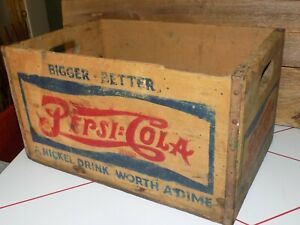 Vtg PEPSi COLA WoodeN CRATE DoubLe DoT 50s NicKel WorTh Dime SodaPOP BoX Case #1