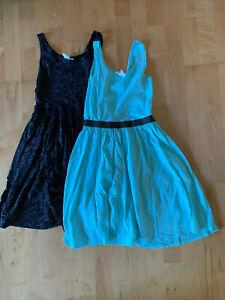 2 Kleider Mädchen H&M basic Gr. 146/152 türkis und schwarz ...