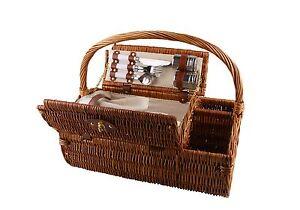 Luxus-Weiden-Picknickkorb-fuer-2-Personen-Picknick-Korb-Camping-Set-Pekueba-Garten