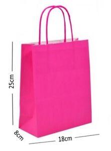 Rose Vif Fête Danniversaire Sac Cadeau Papier Kraft Présent Avec