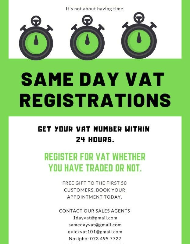 SAME DAY VAT NUMBER, PAY ONLY WHEN THE JOB IS DONE