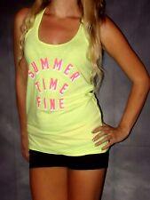 Victorias secret Summer Time Fine bright neon yellow strappy back tank top M