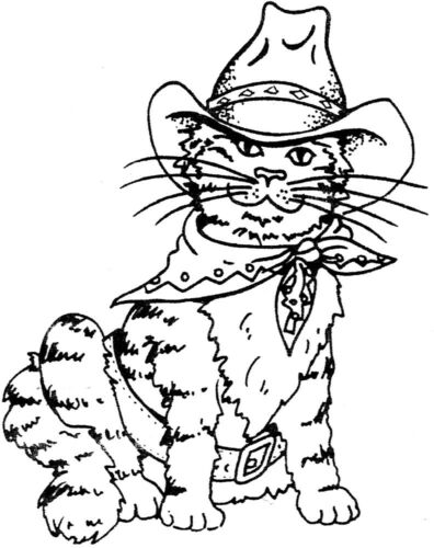 Southwestern Cat Unmounted Rubber Stamps Western Cats Cowboy Cat Feline