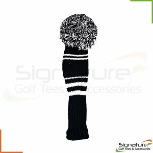Premium-Knitted-Pom-Pom-Golf-Club-Headcovers-Black-White