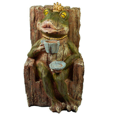 Frog Statue Drinking Coffee Garden Decoration Novelty Collectible Frog Figurine