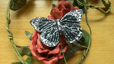 10.0cm wingspan Silver Feather Butterfly with Glitter
