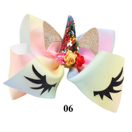 Kids Children Rainbow Party Hair Clips Unicorn Bows Glitter Ears Girls Hairpins