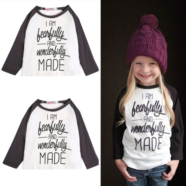 Fashion Baby Girls Cotton Letters T-Shirt Toddler Long Sleeve T-Shirt Blouse 1-6