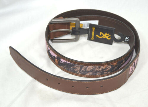Browning Womens Belt Brown Leather /& Mossy Oak Pink Camo size Small 29-33/""