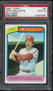 1980-Topps-039-79-Highlight-Del-Unser-Philadelphia-Phillies-6-PSA-9-MINT-SET-BREAK