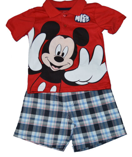 NWT GENUINE DISNEY Boys Short Set MICKEY MOUSE BIG FACE Red Polo FREE SHIP