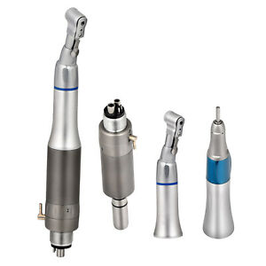 1Kit Dental Slow Low Speed Handpiece Contra Angle Straight Nosecone 4H Air Motor