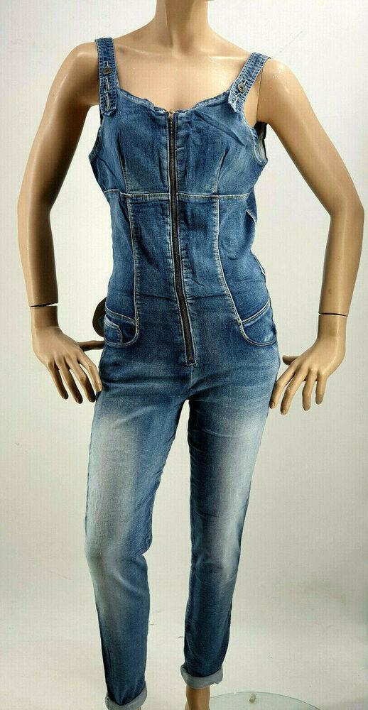 ???? Place Du Jour Zip Jeans Jumpsuit Overall Taille 34-42
