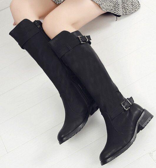 Bottes basses chaussures rangers 4 cm noir élégant comme cuir 9362