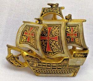 Damascene Spainish Galleon Ship Charm Vintage Spain