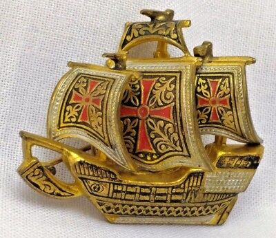 Vintage Spanish Damascene Galleon Tall Ship Gold Enamel Brooch