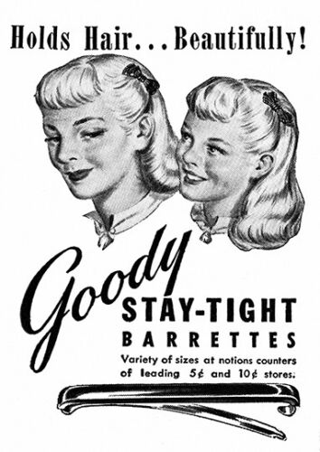 Wall art. Reproduction hair care advertising poster Goody stay tight