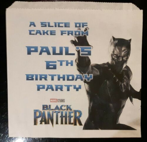 Personalised Marvel Black Panther White Cake Party Bags
