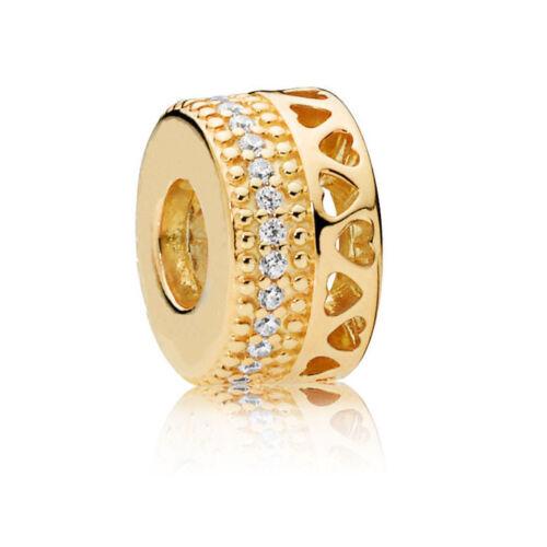 Argent//Or//Or Rose European Charm Beads Fit 925 Collier Bracelet Chaîne