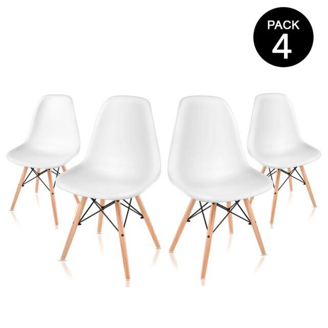 Pack 4 sillas de comedor blancas de diseño nordico -McHaus