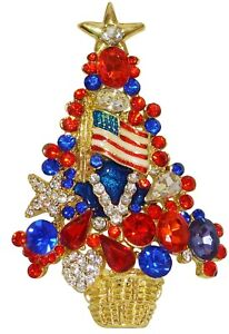 Star Spangled Patriotic Christmas Tree Pin with Sparkling Red and Blue Crystals | eBay