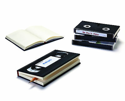 Retro VHS Video Tape Novelty Notebook 260p Plain Pages Ruled Diary Blank Journal