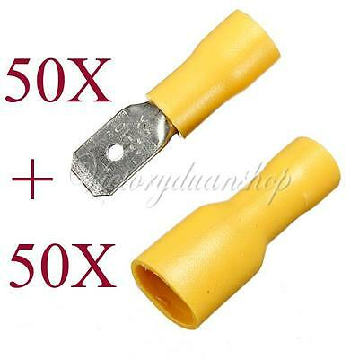 100X Yellow Male amd Female Insulated Spade Connector Crimp Terminals 12-10 awg